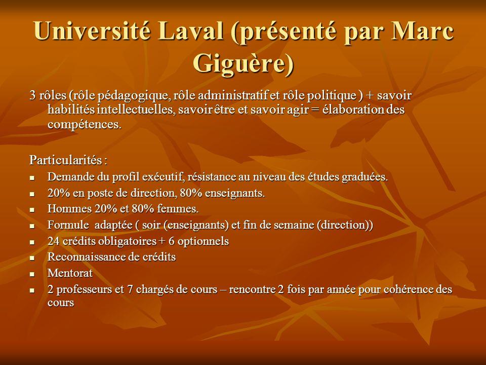 Université Laval (présenté par Marc Giguère) 3 rôles (rôle pédagogique, rôle administratif et rôle politique ) + savoir habilités intellectuelles, savoir être et savoir agir = élaboration des compétences.