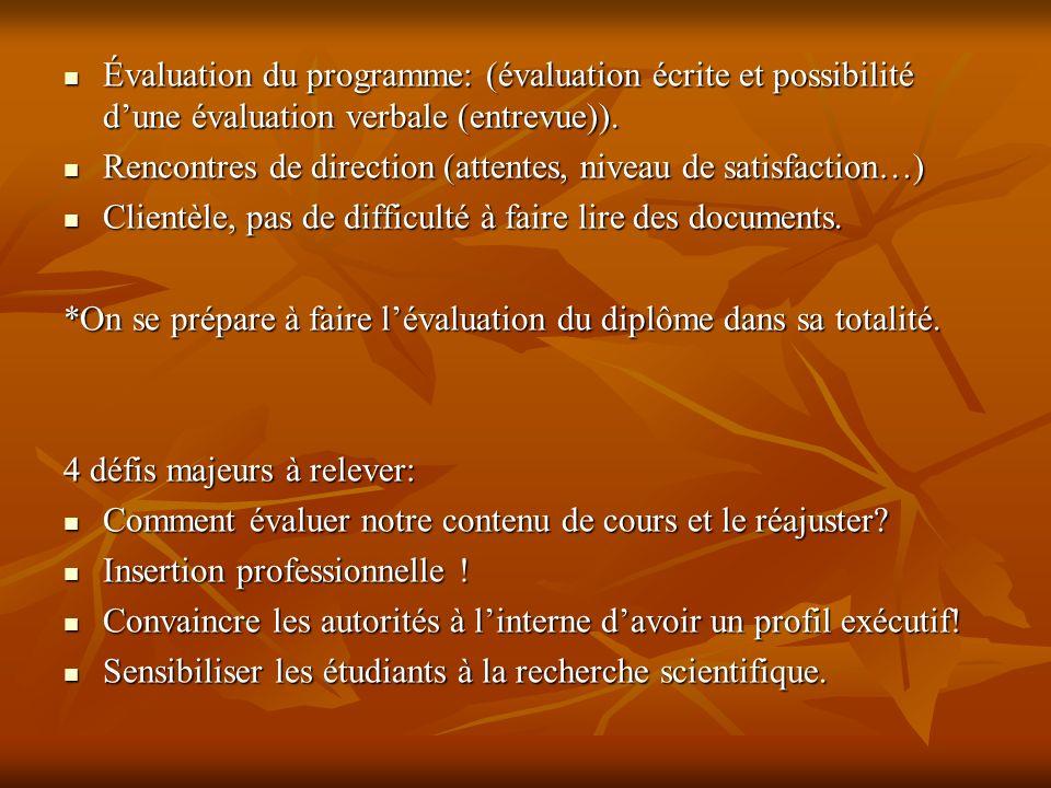 Évaluation du programme: (évaluation écrite et possibilité dune évaluation verbale (entrevue)).