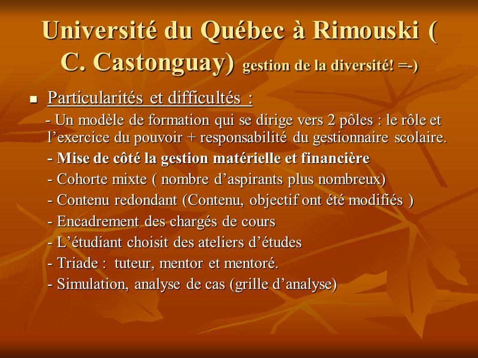 Université du Québec à Rimouski ( C. Castonguay) gestion de la diversité.