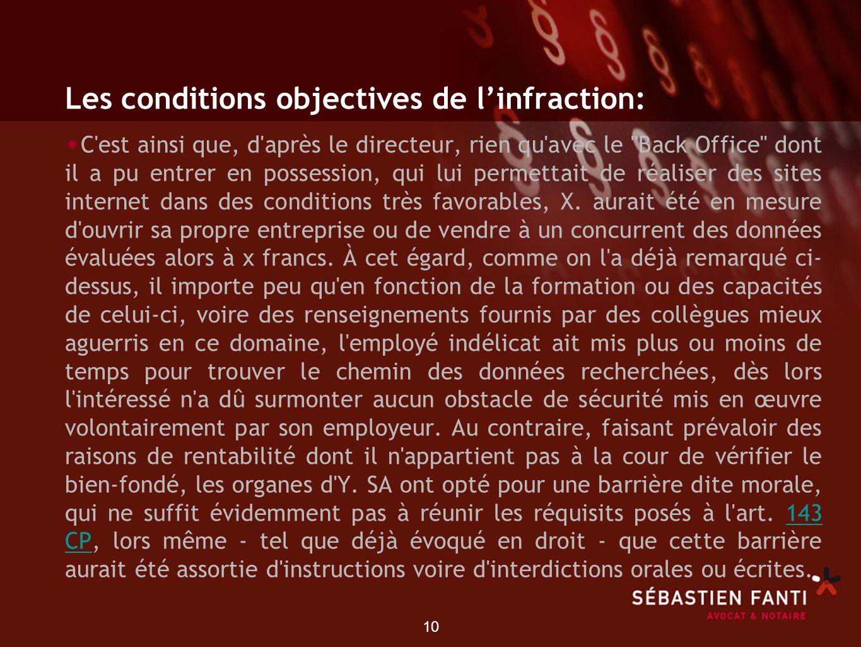 10 Les conditions objectives de linfraction: C'est ainsi que, d'après le directeur, rien qu'avec le