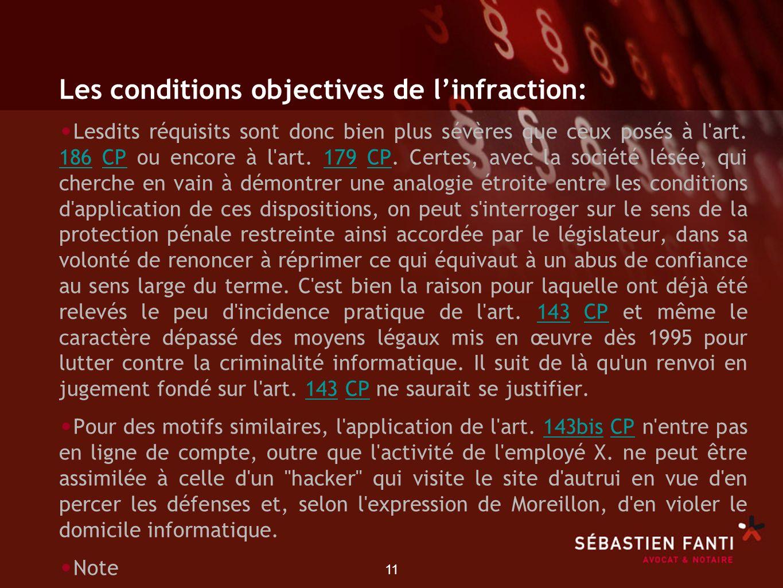 11 Les conditions objectives de linfraction: Lesdits réquisits sont donc bien plus sévères que ceux posés à l'art. 186 CP ou encore à l'art. 179 CP. C