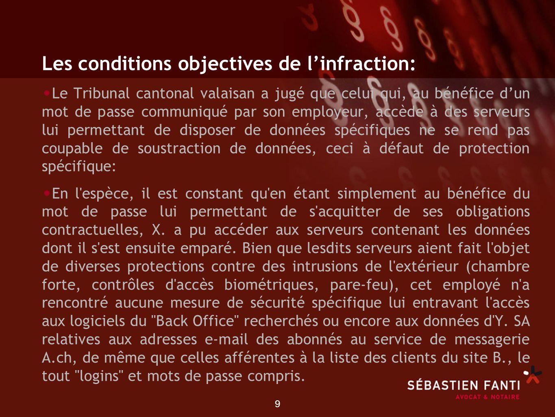 9 Les conditions objectives de linfraction: Le Tribunal cantonal valaisan a jugé que celui qui, au bénéfice dun mot de passe communiqué par son employ