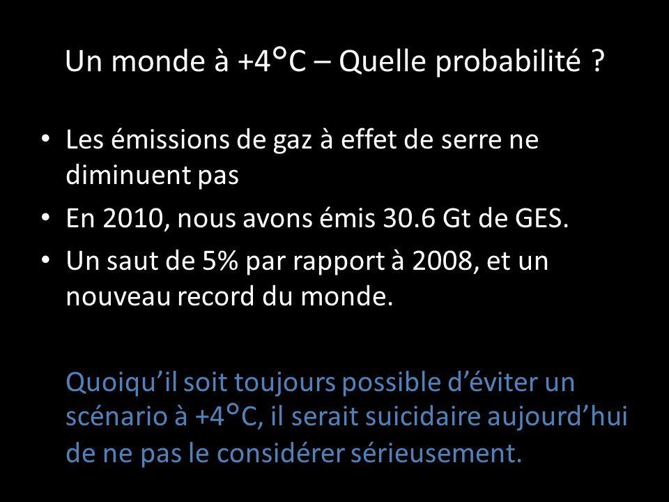 Implications dun monde à +4°C Simplement, cela revient à dire que certains endroits du monde deviendraient inhabitables: – La hausse de température pourrait atteindre 10°C à certains endroits.