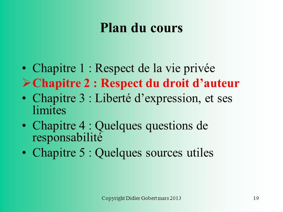 Copyright Didier Gobert mars 201318 Courriers électroniques non sollicités Principe du consentement préalable (opt-in) « Lutilisation du courrier élec