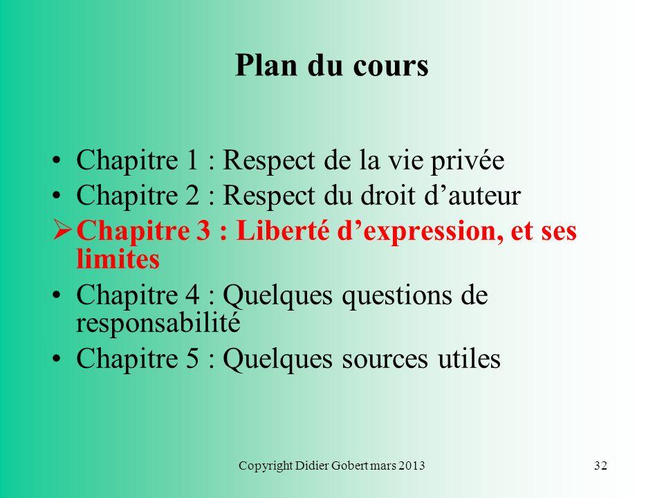 Copyright Didier Gobert mars 201331 Questions pratiques Puis-je reproduire limage ou la photo dun tiers si je lai préalablement modifiée ? –NON : la m