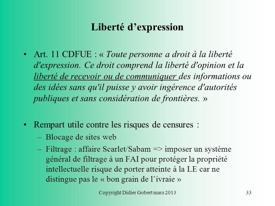 Copyright Didier Gobert mars 201332 Plan du cours Chapitre 1 : Respect de la vie privée Chapitre 2 : Respect du droit dauteur Chapitre 3 : Liberté dex
