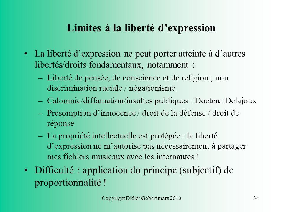 Liberté dexpression Art. 11 CDFUE : « Toute personne a droit à la liberté d'expression. Ce droit comprend la liberté d'opinion et la liberté de recevo