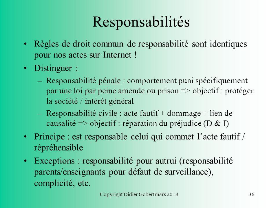 Copyright Didier Gobert mars 201335 Plan du cours Chapitre 1 : Respect de la vie privée Chapitre 2 : Respect du droit dauteur Chapitre 3 : Liberté dex