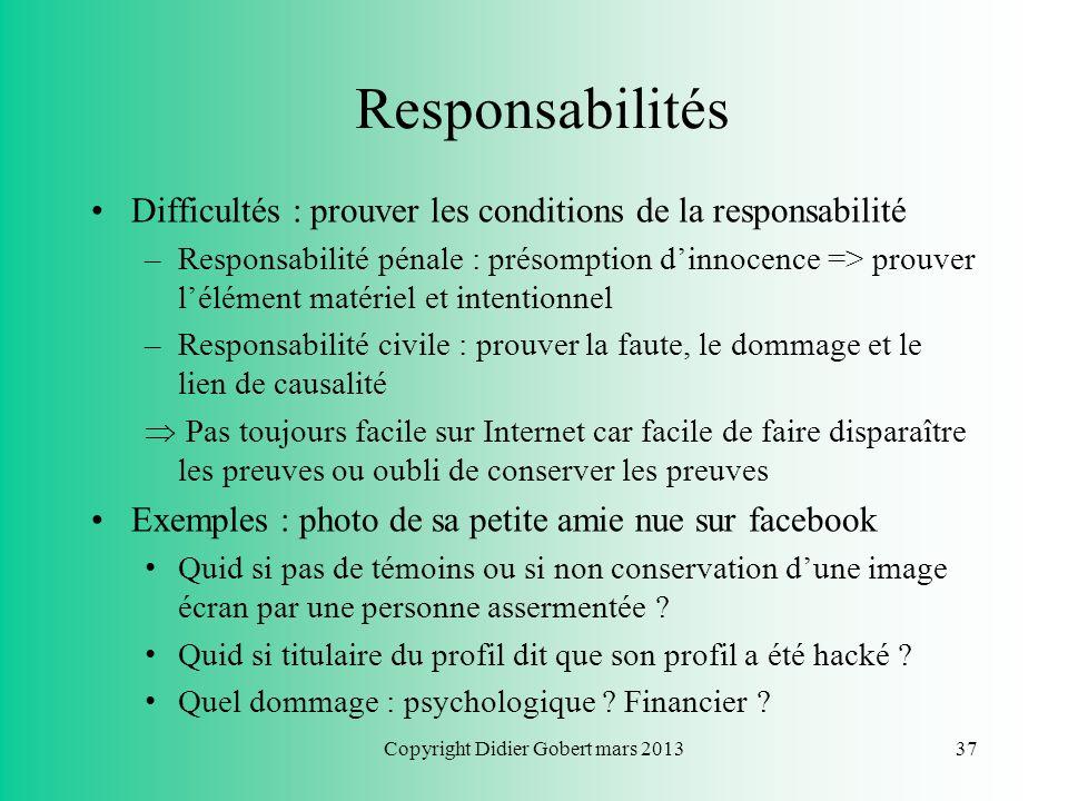 Copyright Didier Gobert mars 201336 Responsabilités Règles de droit commun de responsabilité sont identiques pour nos actes sur Internet ! Distinguer