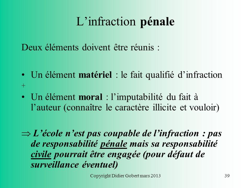 Copyright Didier Gobert mars 201338 Responsabilité pénale de lécole ? Quid si un élève commet une infraction pénale à partir du réseau de lécole ? Exe