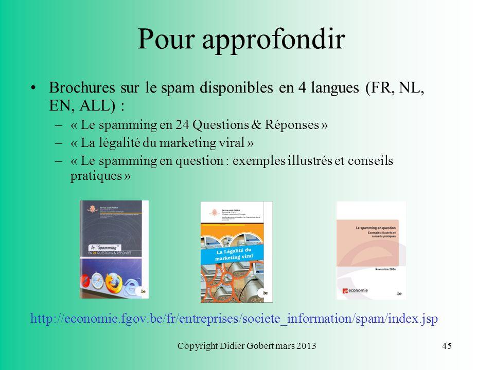 Copyright Didier Gobert mars 201344 Pour approfondir SPF Economie : guides pour les utilisateurs dInternet et les titulaires de site web : http://econ