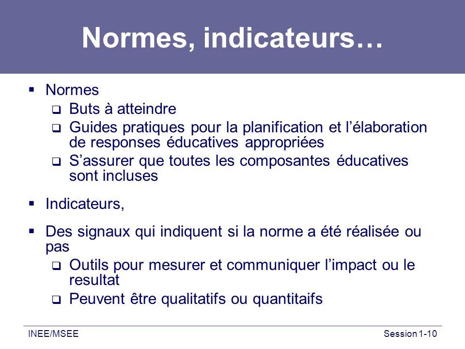 INEE/MSEESession 1-10 Normes, indicateurs… Normes Buts à atteindre Guides pratiques pour la planification et lélaboration de responses éducatives appr