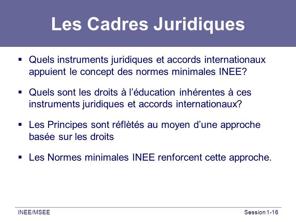 INEE/MSEESession 1-16 Les Cadres Juridiques Quels instruments juridiques et accords internationaux appuient le concept des normes minimales INEE? Quel