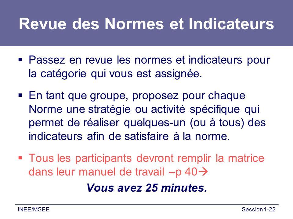 INEE/MSEESession 1-22 Revue des Normes et Indicateurs Passez en revue les normes et indicateurs pour la catégorie qui vous est assignée. En tant que g