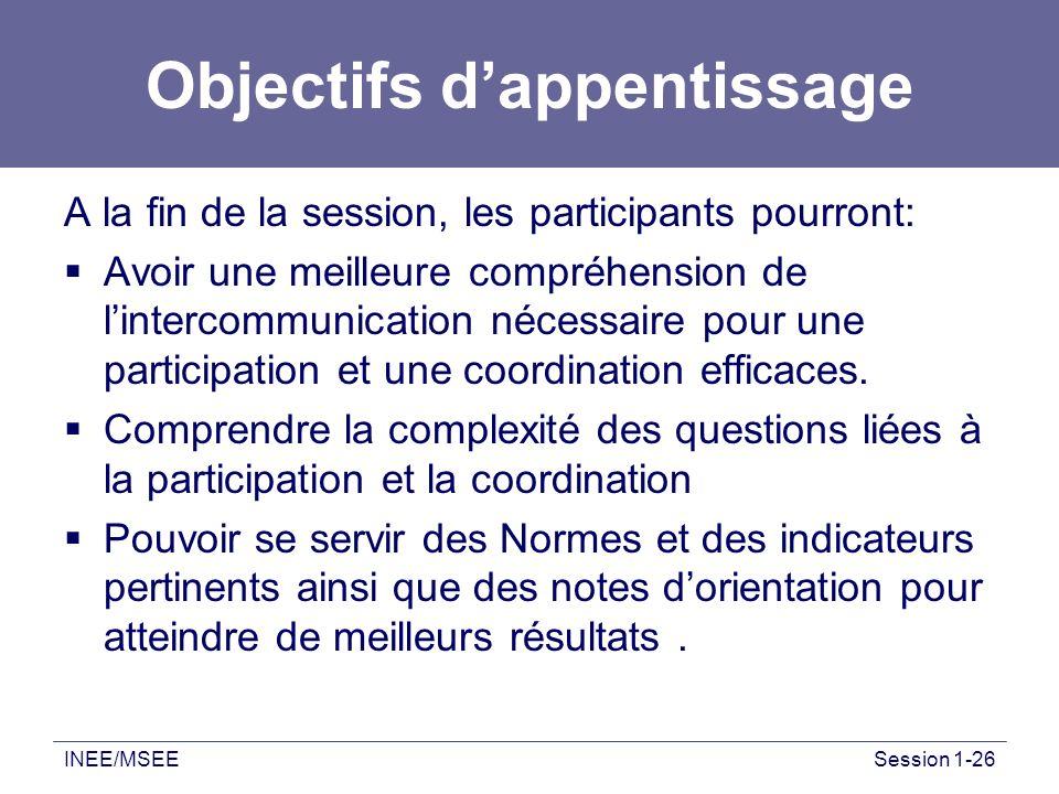 INEE/MSEESession 1-26 Objectifs dappentissage A la fin de la session, les participants pourront: Avoir une meilleure compréhension de lintercommunicat