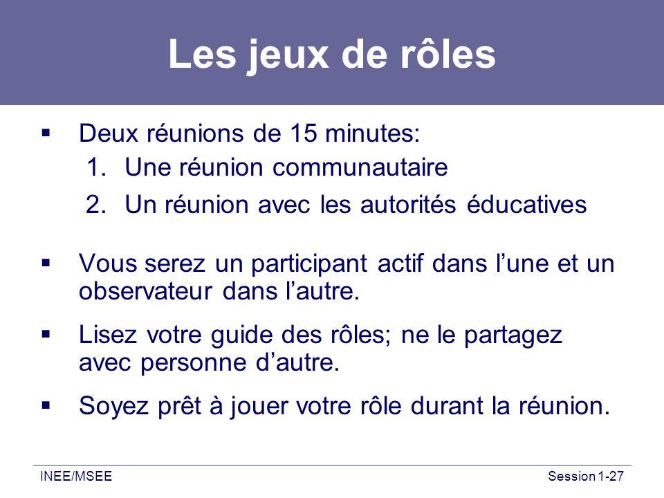 INEE/MSEESession 1-27 Les jeux de rôles Deux réunions de 15 minutes: 1.Une réunion communautaire 2.Un réunion avec les autorités éducatives Vous serez