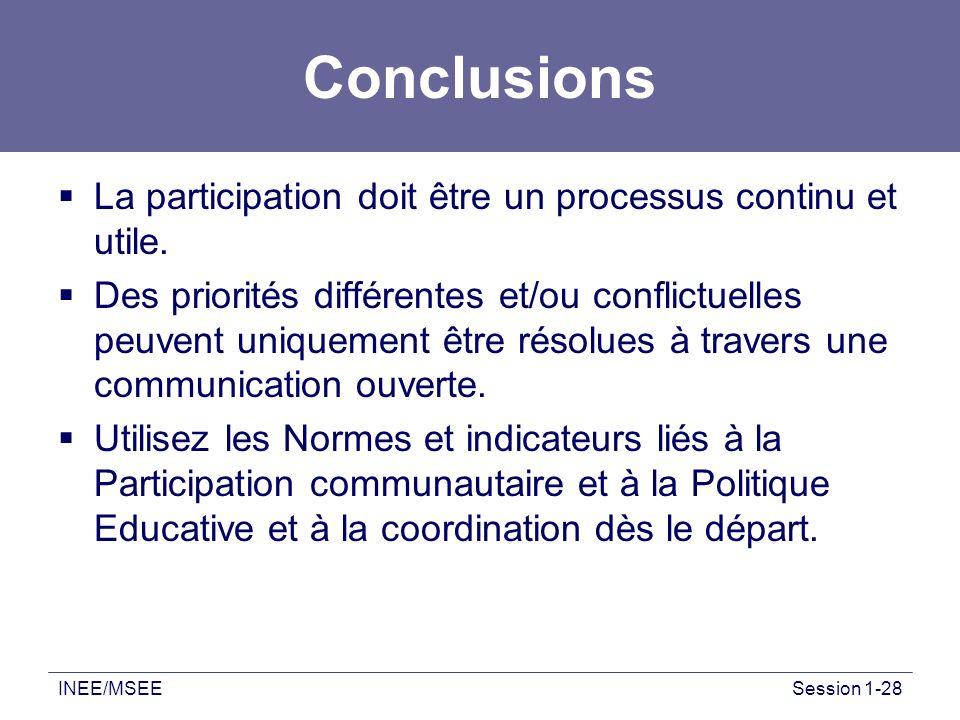 INEE/MSEESession 1-28 Conclusions La participation doit être un processus continu et utile. Des priorités différentes et/ou conflictuelles peuvent uni