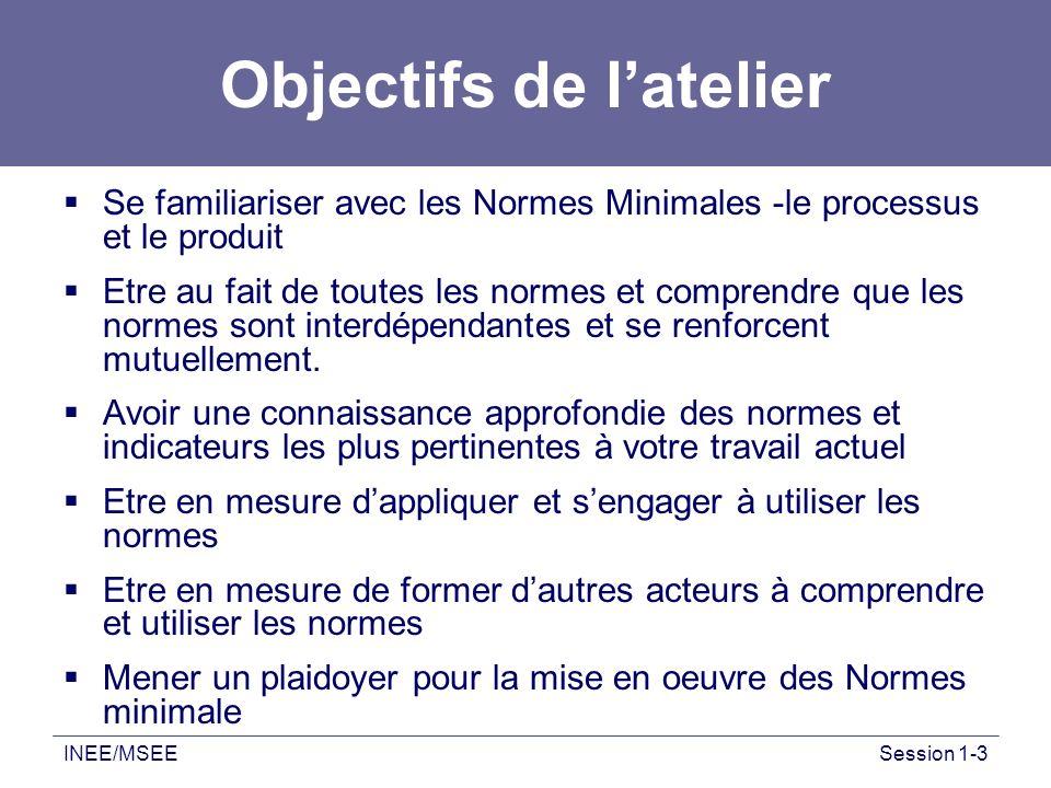 INEE/MSEESession 1-3 Objectifs de latelier Se familiariser avec les Normes Minimales -le processus et le produit Etre au fait de toutes les normes et