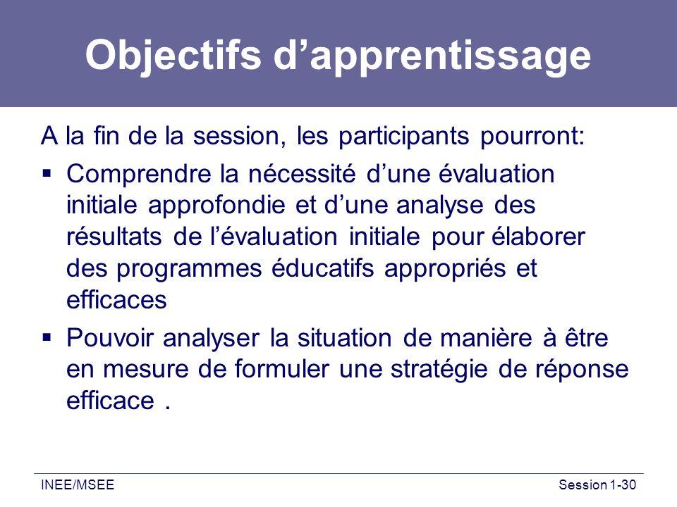 INEE/MSEESession 1-30 Objectifs dapprentissage A la fin de la session, les participants pourront: Comprendre la nécessité dune évaluation initiale app