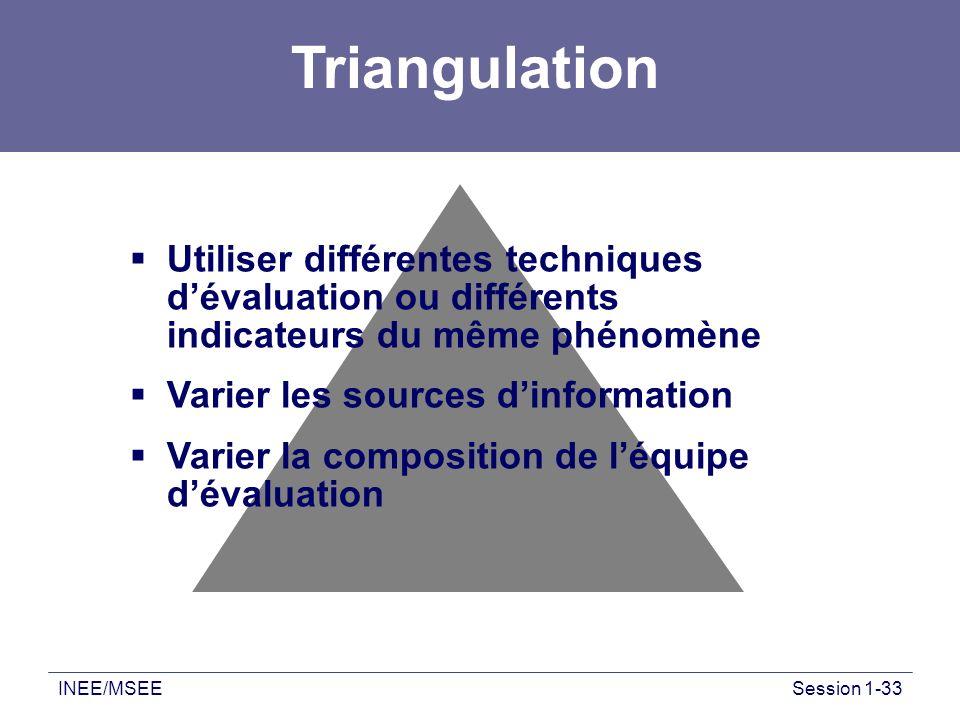 INEE/MSEESession 1-33 Utiliser différentes techniques dévaluation ou différents indicateurs du même phénomène Varier les sources dinformation Varier l