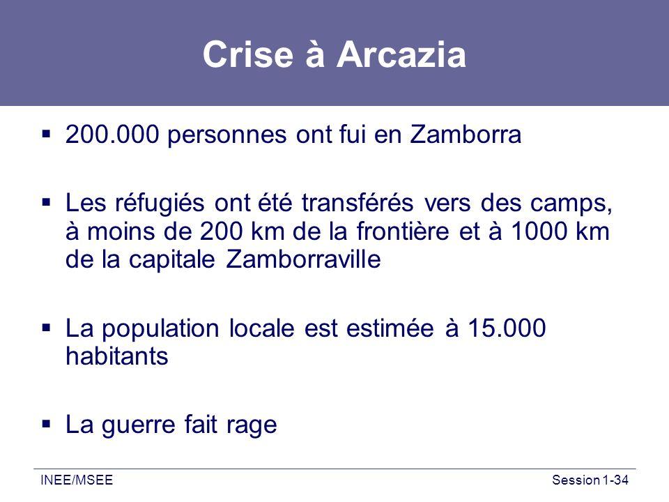 INEE/MSEESession 1-34 Crise à Arcazia 200.000 personnes ont fui en Zamborra Les réfugiés ont été transférés vers des camps, à moins de 200 km de la fr