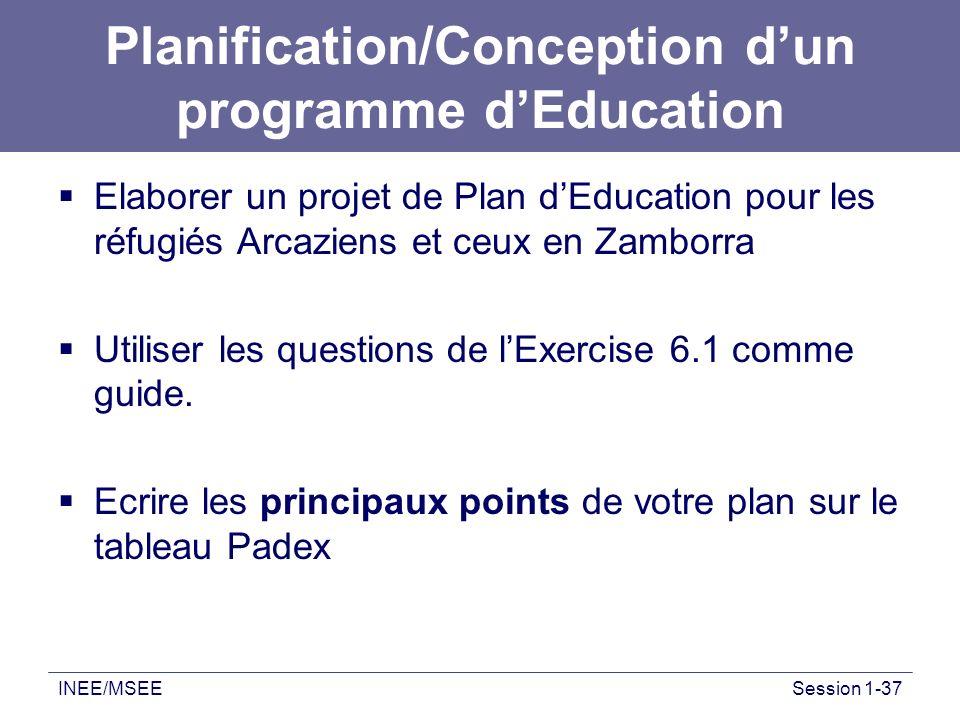 INEE/MSEESession 1-37 Planification/Conception dun programme dEducation Elaborer un projet de Plan dEducation pour les réfugiés Arcaziens et ceux en Z