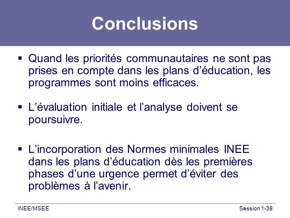INEE/MSEESession 1-38 Conclusions Quand les priorités communautaires ne sont pas prises en compte dans les plans déducation, les programmes sont moins