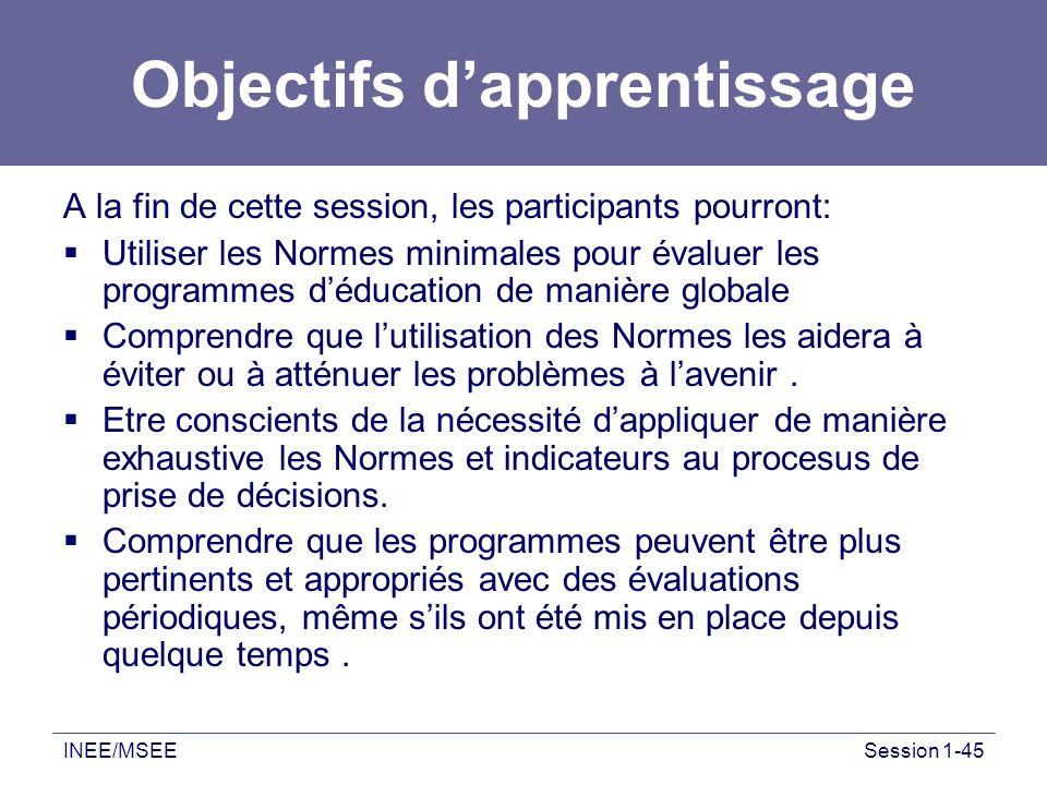 INEE/MSEESession 1-45 Objectifs dapprentissage A la fin de cette session, les participants pourront: Utiliser les Normes minimales pour évaluer les pr