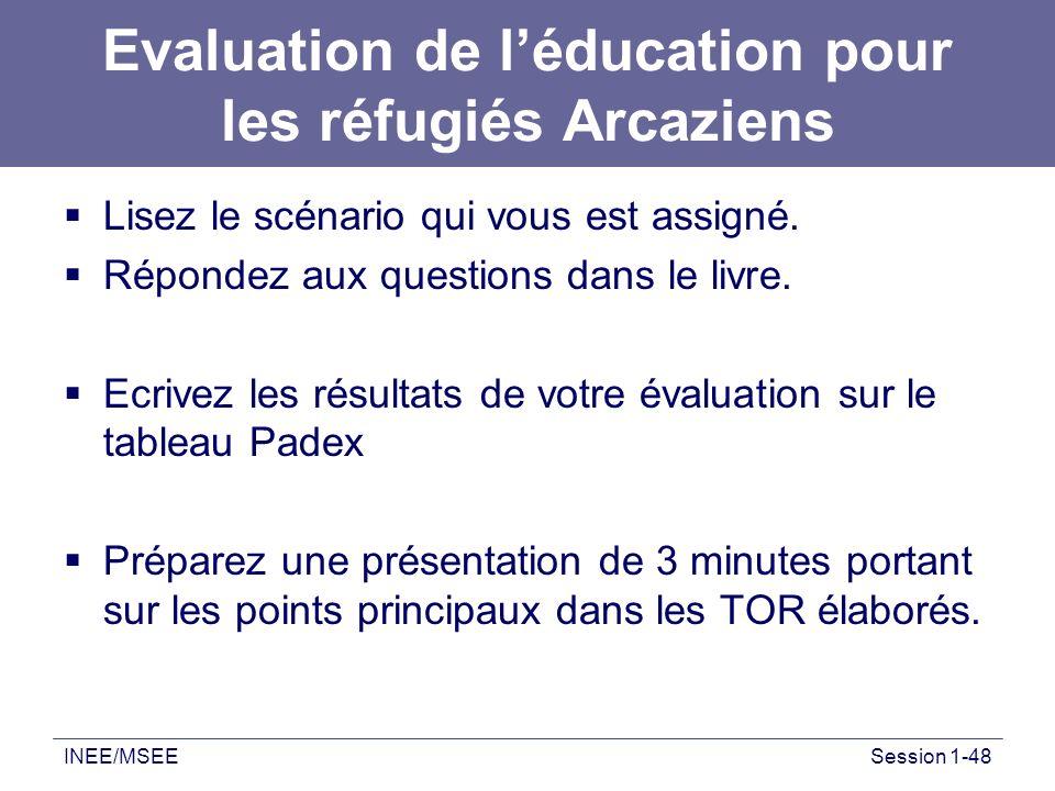 INEE/MSEESession 1-48 Evaluation de léducation pour les réfugiés Arcaziens Lisez le scénario qui vous est assigné. Répondez aux questions dans le livr