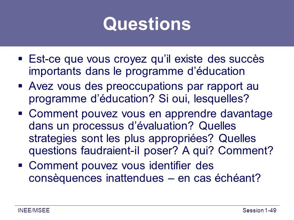 INEE/MSEESession 1-49 Questions Est-ce que vous croyez quil existe des succès importants dans le programme déducation Avez vous des preoccupations par