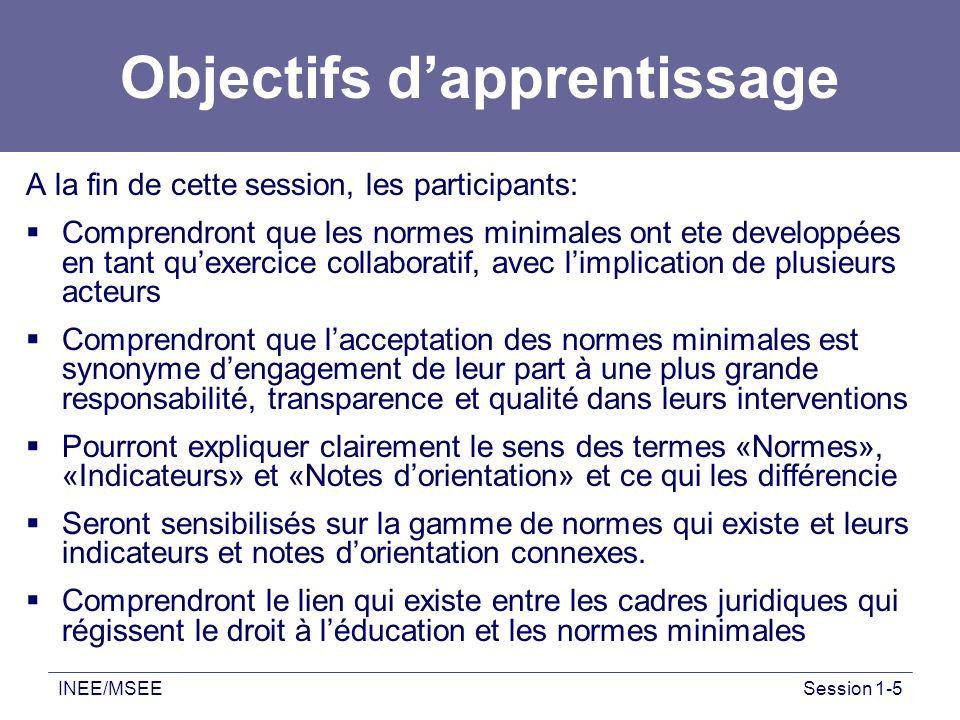 INEE/MSEESession 1-5 Objectifs dapprentissage A la fin de cette session, les participants: Comprendront que les normes minimales ont ete developpées e