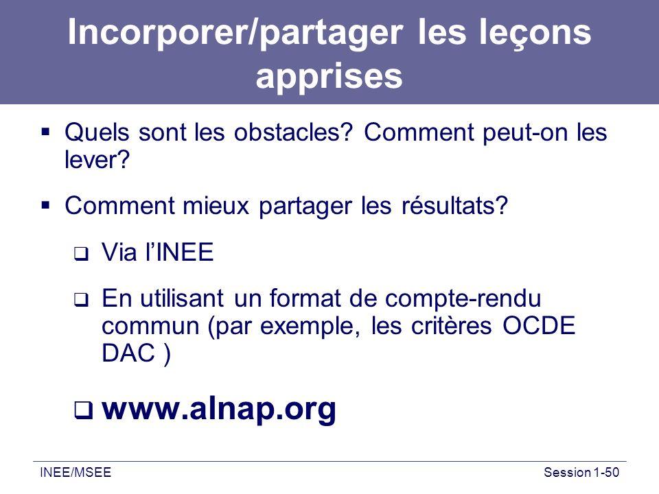 INEE/MSEESession 1-50 Incorporer/partager les leçons apprises Quels sont les obstacles? Comment peut-on les lever? Comment mieux partager les résultat