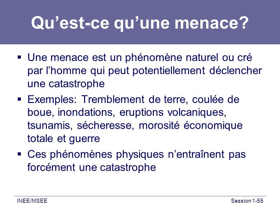 INEE/MSEESession 1-55 Quest-ce quune menace? Une menace est un phénomène naturel ou cré par lhomme qui peut potentiellement déclencher une catastrophe