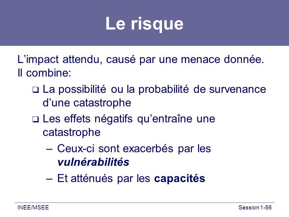 INEE/MSEESession 1-56 Le risque Limpact attendu, causé par une menace donnée. Il combine: La possibilité ou la probabilité de survenance dune catastro