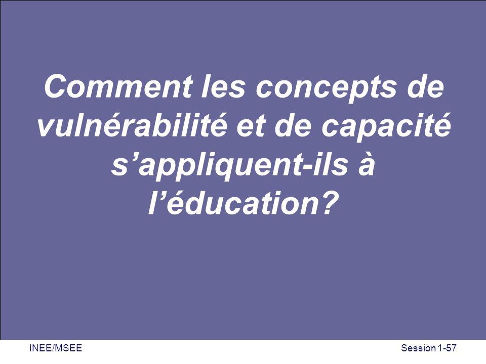 INEE/MSEESession 1-57 Comment les concepts de vulnérabilité et de capacité sappliquent-ils à léducation?
