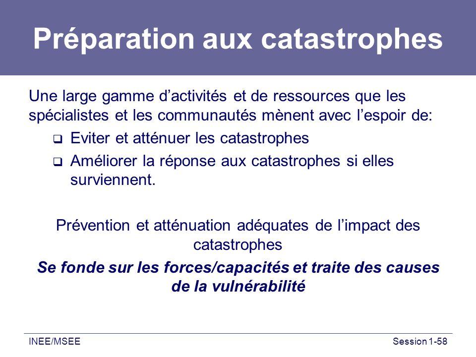INEE/MSEESession 1-58 Préparation aux catastrophes Une large gamme dactivités et de ressources que les spécialistes et les communautés mènent avec les