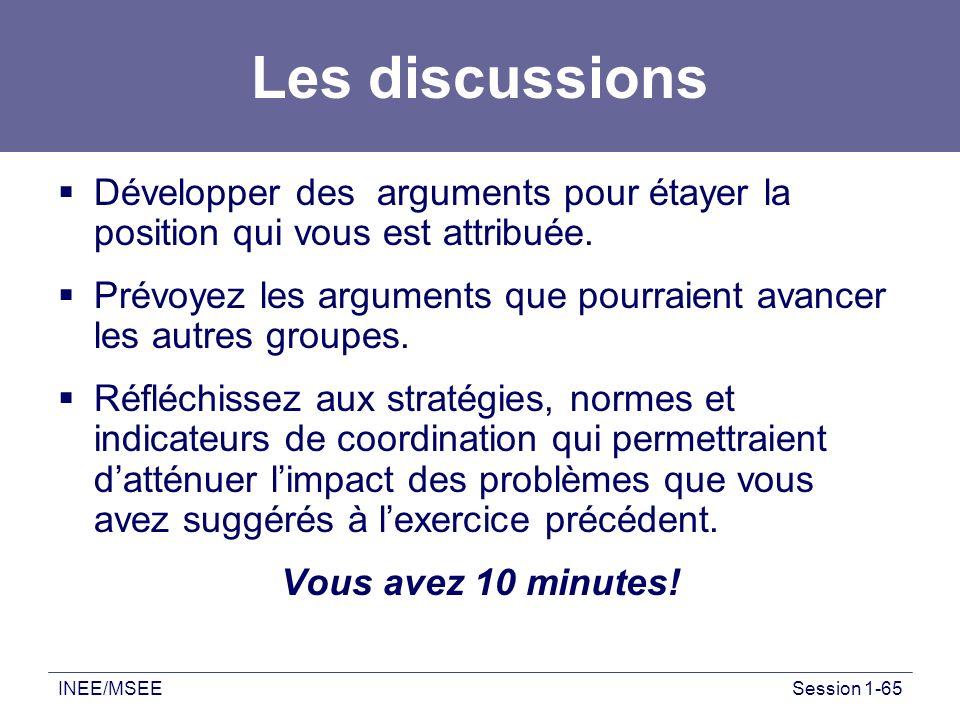 INEE/MSEESession 1-65 Les discussions Développer des arguments pour étayer la position qui vous est attribuée. Prévoyez les arguments que pourraient a