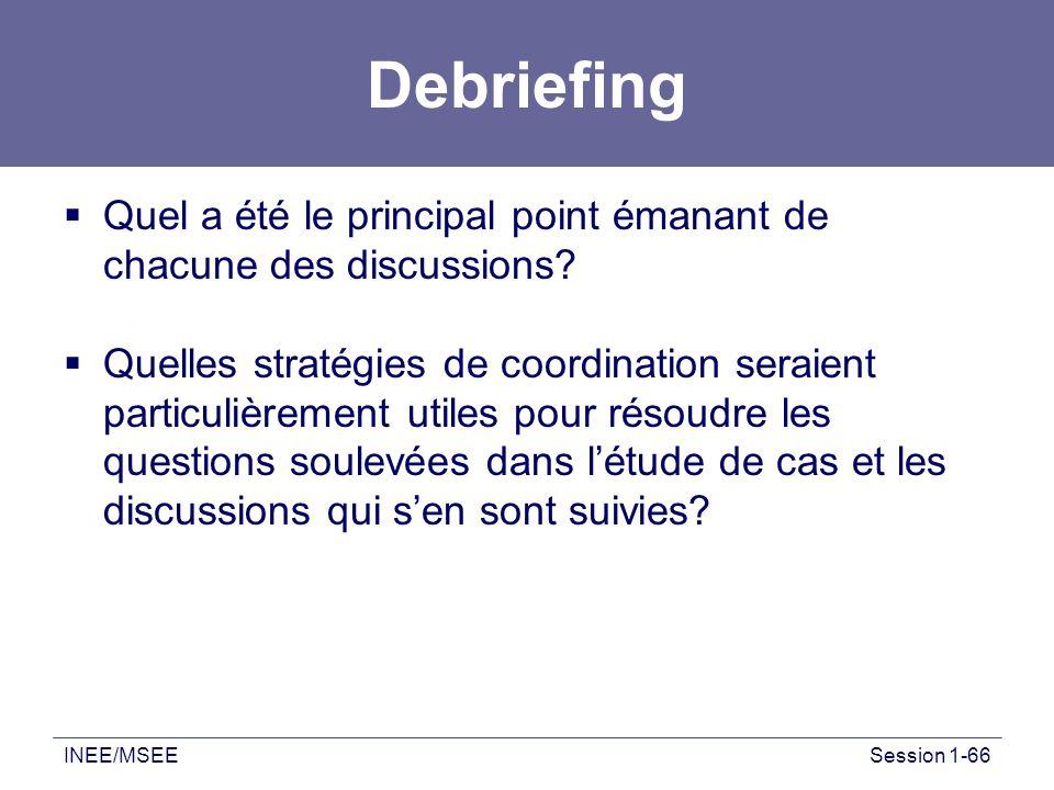 INEE/MSEESession 1-66 Debriefing Quel a été le principal point émanant de chacune des discussions? Quelles stratégies de coordination seraient particu