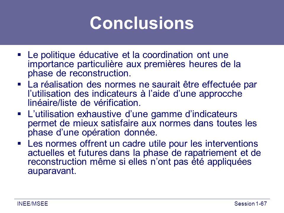 INEE/MSEESession 1-67 Conclusions Le politique éducative et la coordination ont une importance particulière aux premières heures de la phase de recons