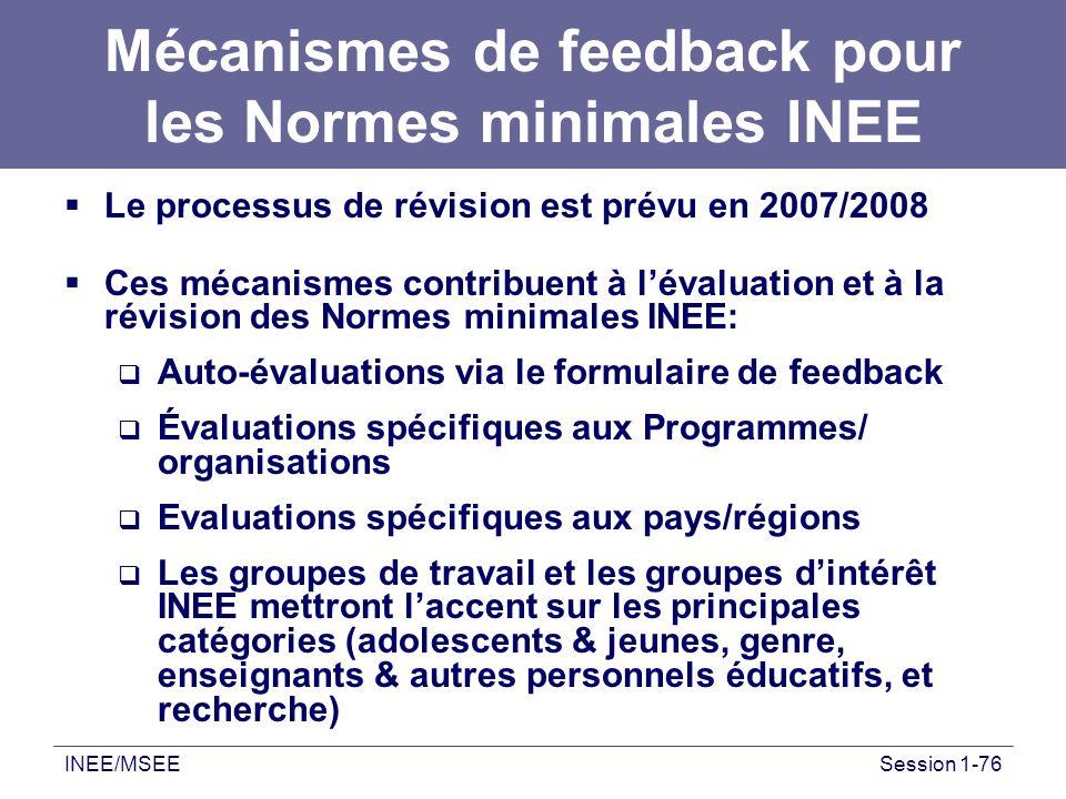 INEE/MSEESession 1-76 Mécanismes de feedback pour les Normes minimales INEE Le processus de révision est prévu en 2007/2008 Ces mécanismes contribuent