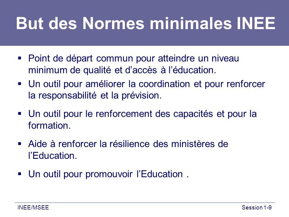 INEE/MSEESession 1-9 But des Normes minimales INEE Point de départ commun pour atteindre un niveau minimum de qualité et daccès à léducation. Un outil