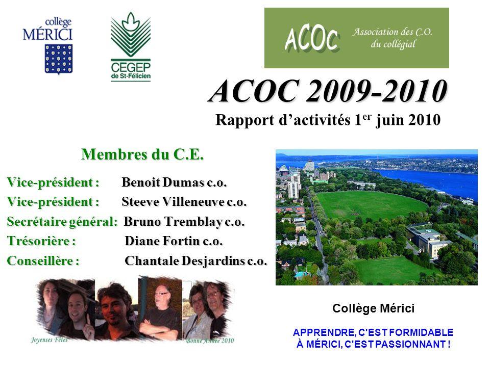 ACOC 2009-2010 ACOC 2009-2010 Rapport dactivités 1 er juin 2010 Membres du C.E.