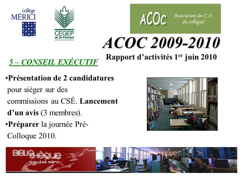 Présentation de 2 candidatures pour siéger sur des commissions au CSÉ.