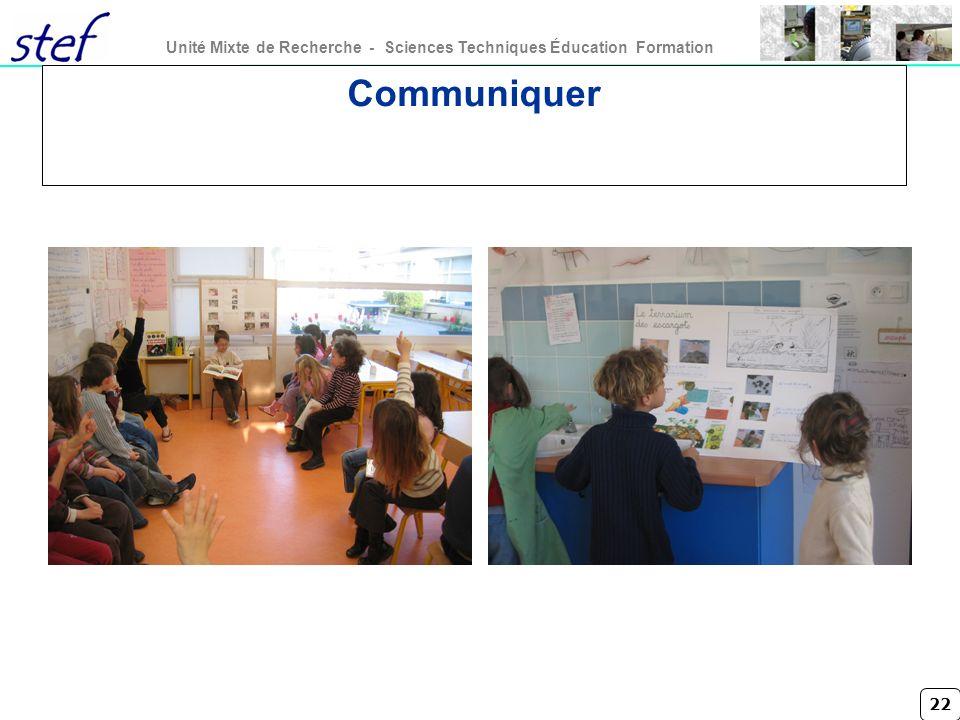 22 Unité Mixte de Recherche - Sciences Techniques Éducation Formation Communiquer