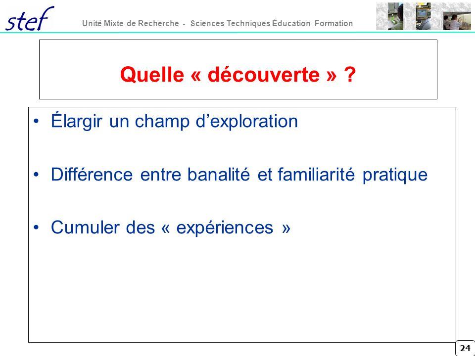 24 Unité Mixte de Recherche - Sciences Techniques Éducation Formation Quelle « découverte » ? Élargir un champ dexploration Différence entre banalité