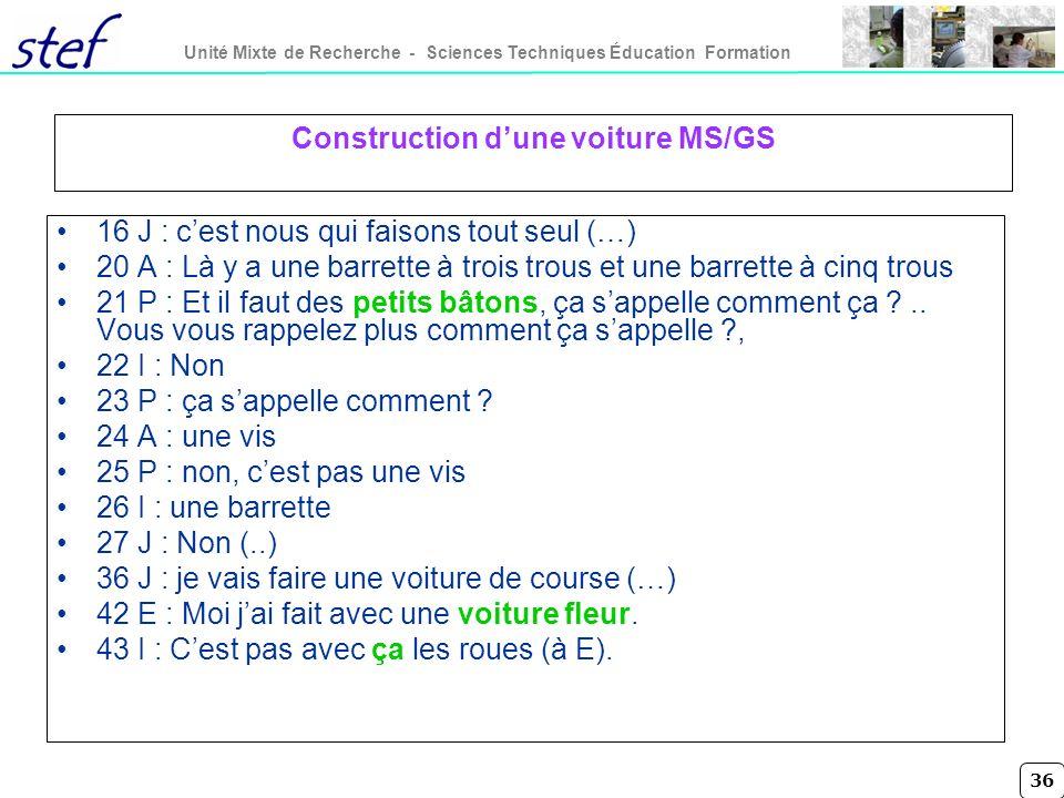 36 Unité Mixte de Recherche - Sciences Techniques Éducation Formation Construction dune voiture MS/GS 16 J : cest nous qui faisons tout seul (…) 20 A