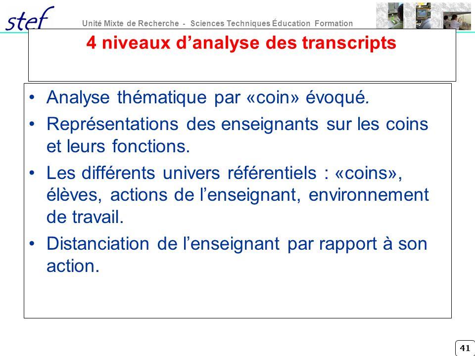 41 Unité Mixte de Recherche - Sciences Techniques Éducation Formation 4 niveaux danalyse des transcripts Analyse thématique par «coin» évoqué. Représe