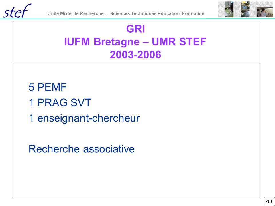 43 Unité Mixte de Recherche - Sciences Techniques Éducation Formation GRI IUFM Bretagne – UMR STEF 2003-2006 5 PEMF 1 PRAG SVT 1 enseignant-chercheur