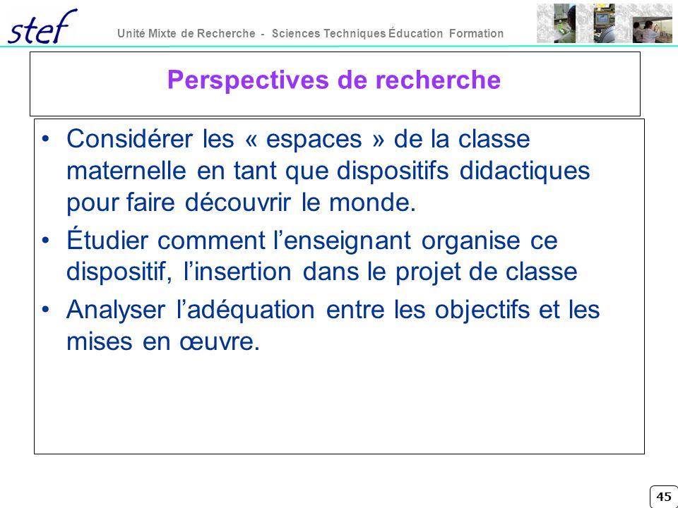 45 Unité Mixte de Recherche - Sciences Techniques Éducation Formation Perspectives de recherche Considérer les « espaces » de la classe maternelle en