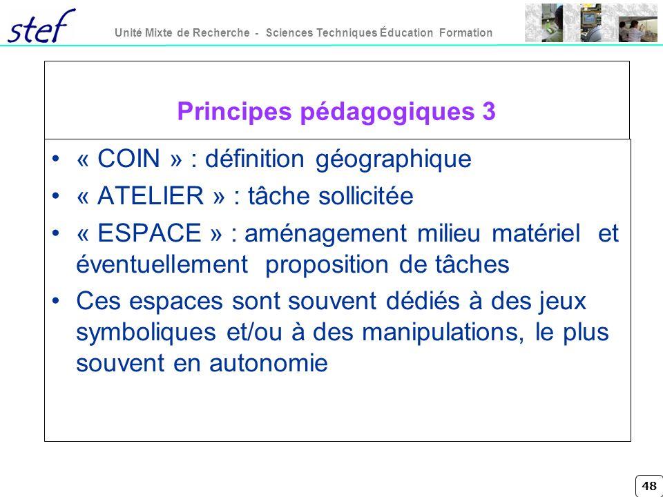 48 Unité Mixte de Recherche - Sciences Techniques Éducation Formation Principes pédagogiques 3 « COIN » : définition géographique « ATELIER » : tâche